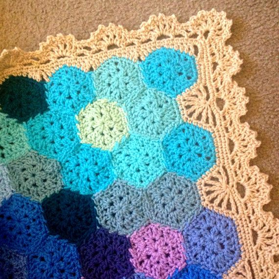 "BabyLove Brand Geometric Lace Blanket/Afghan, handmade crochet beautiful color/size Queen Bed - 86"" square"