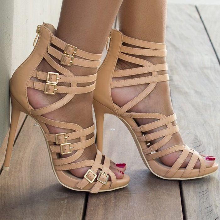 Sexy $9.99 Strappy Caged Upper Stiletto Sandals