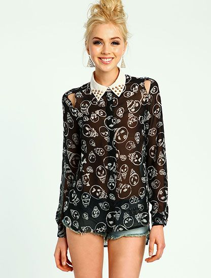Skull Print Cut-Out Blouse