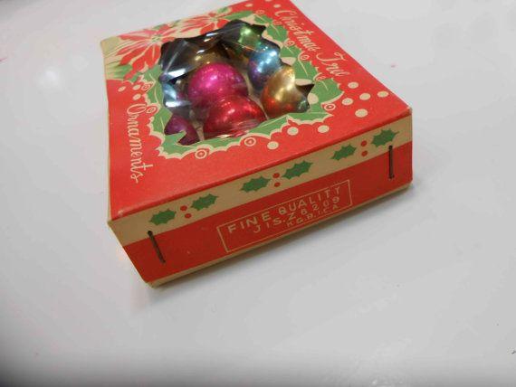Vintage Christmas Ornaments Miniature Lot of 12  in original box