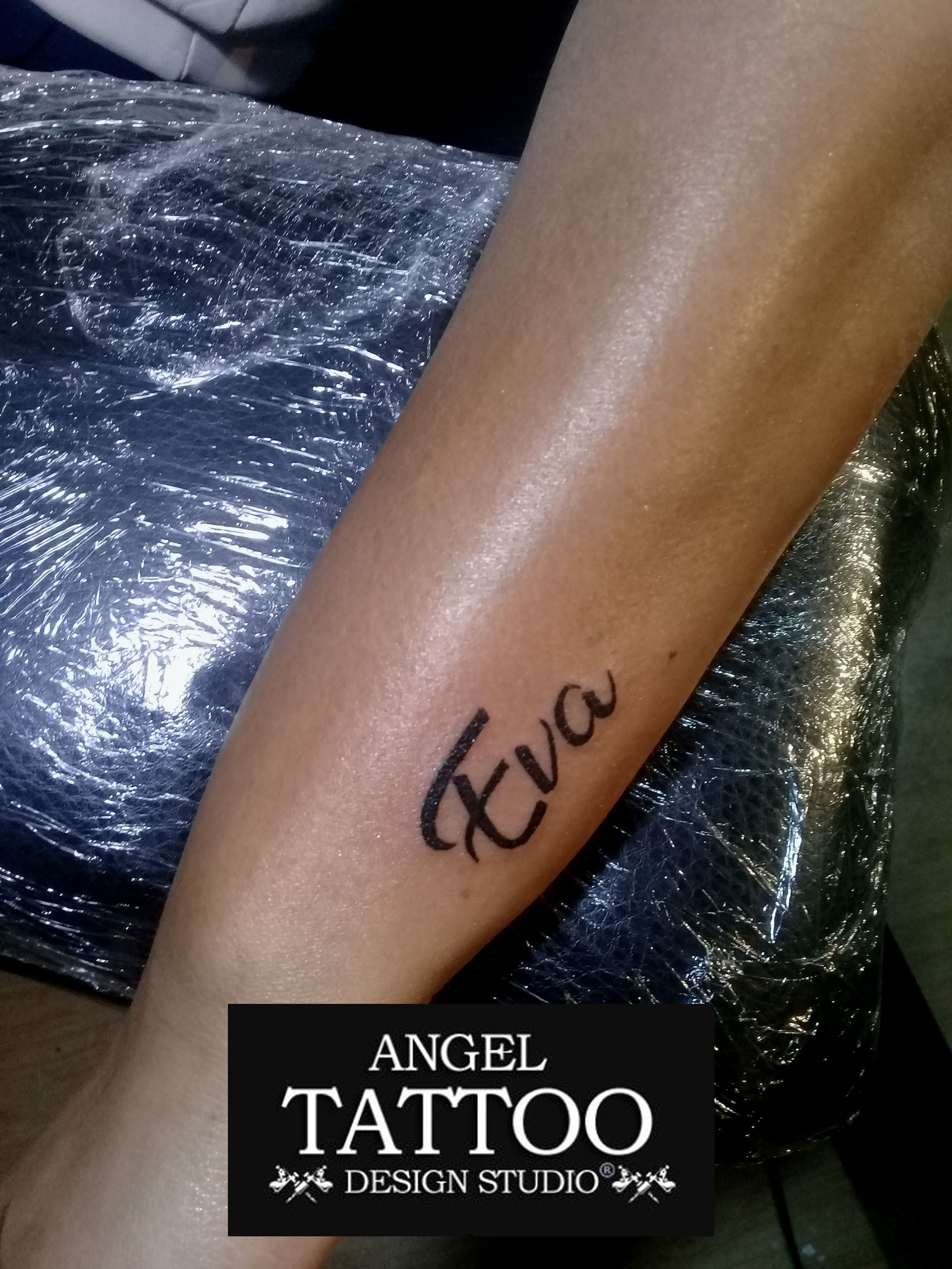 0392d3ff91813 Eva name tattoo made at Gurgaon center. Call 8826602967 for appointment # nametattoo #evanametattoo #smalltattoos