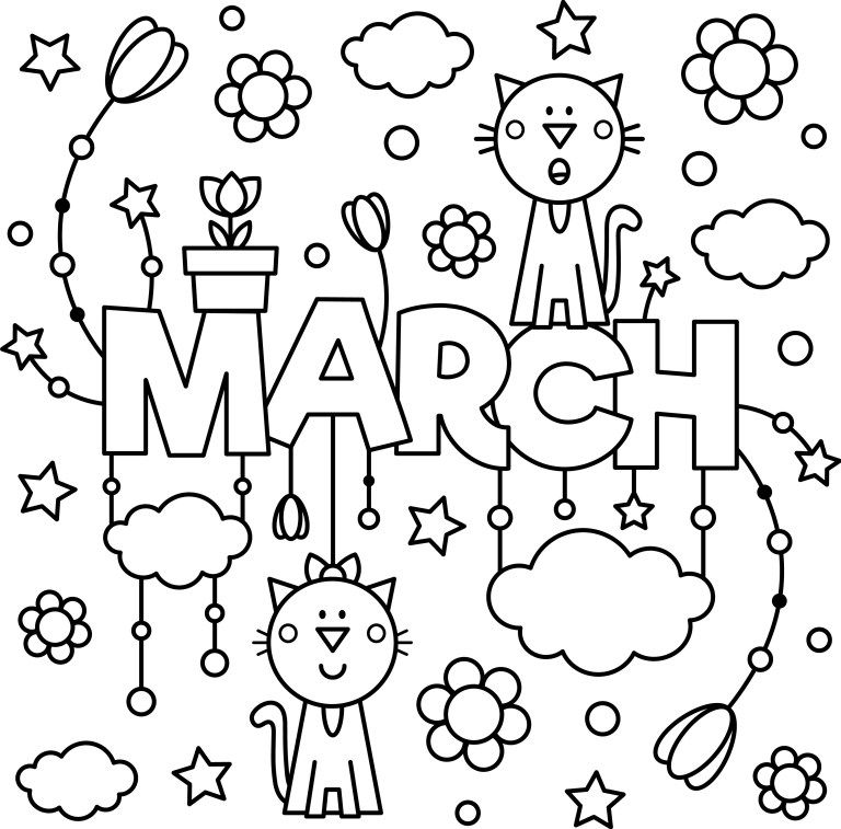 March Colouring Page To Enjoy Thrifty Mommas Tips Detailed Coloring Pages Spring Coloring Pages Coloring Pages