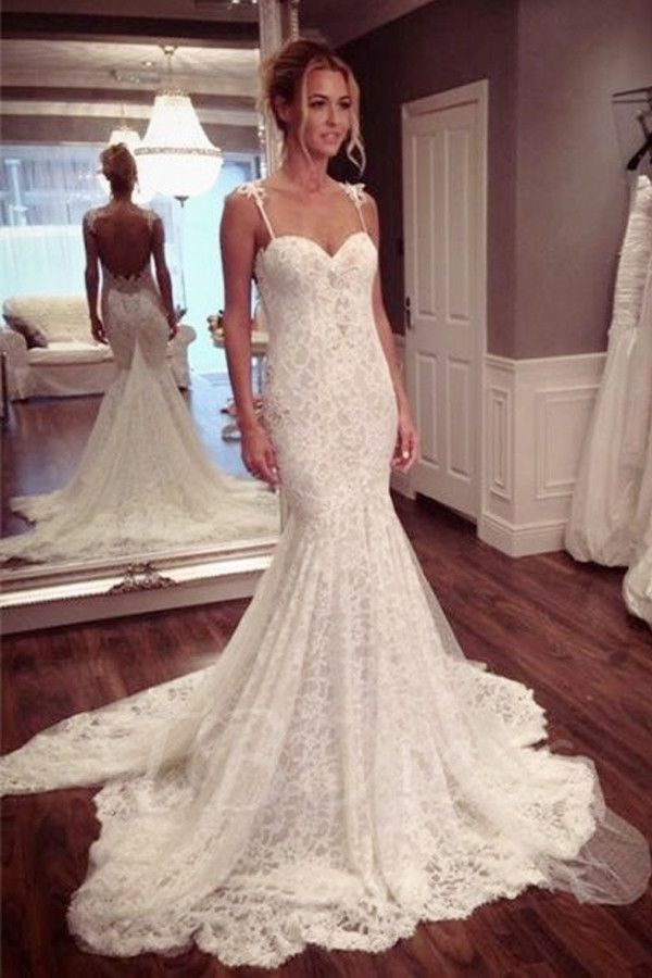 Strap Sweetheart Backless Mermaid Lace Wedding Dress Ball Gown ...