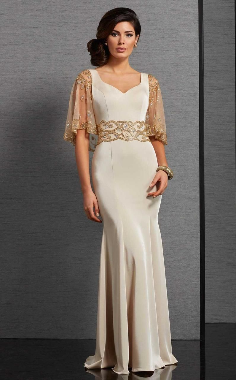 Clarisse - 6302 Fitted Capelet Evening Gown in Neutral and Gold 23b004e19324