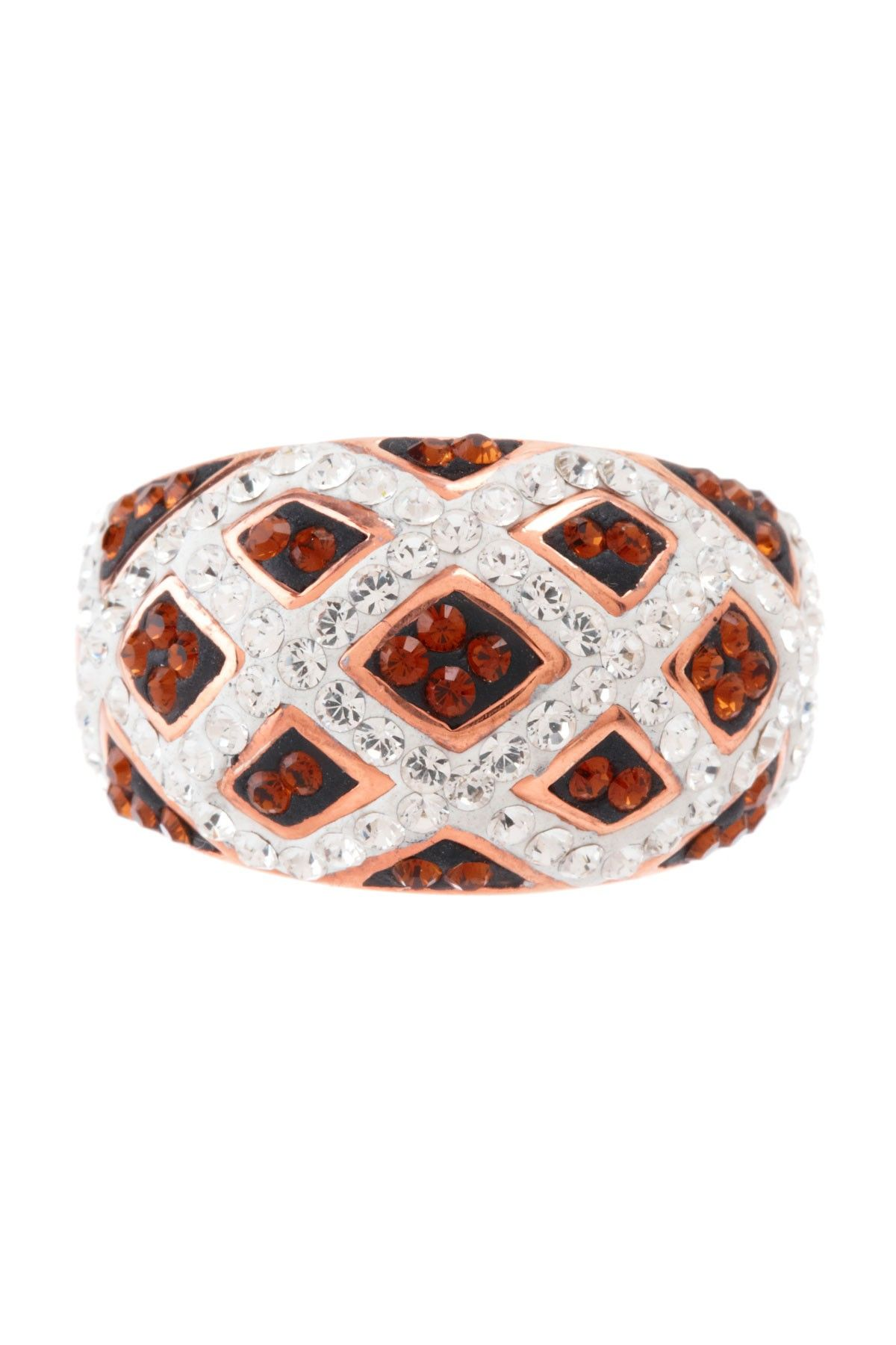 Checkerboard Hairstyle: 14K Rose Gold Plated & Crystal Checkerboard Ring