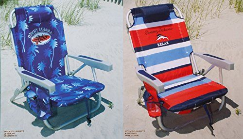2 Tommy Bahama 2015 Backpack Cooler Chairs With Storage Pouch And Towel Bar 1 Blue And 1 Red Striped Find Out M Storage Chair Cooler Chairs Storage Pouch
