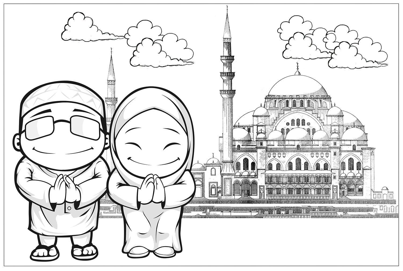 10 Mewarnai Gambar Islami Warna, Gambar, Islam