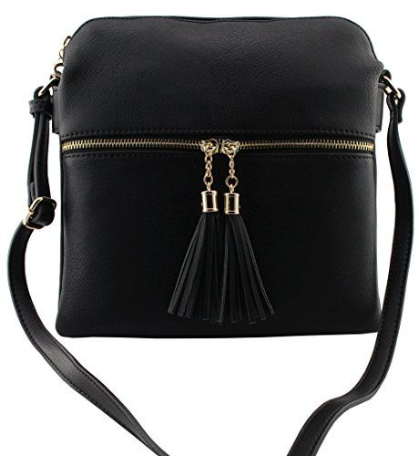 41b6f78868 Amy Joey soft faux leather large multi compartments cross body bags with  tassels (BLACK-PLAIN)