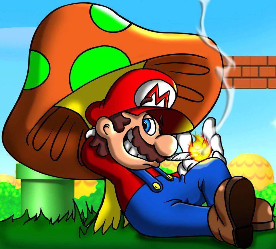 Super Y Cartoon Characters : Mario relaxing marijuana natures weed that cures