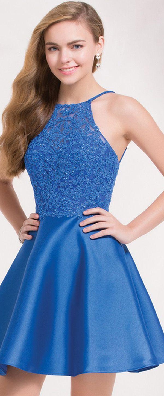 New exciting satin halter neckline short aline homecoming dresses