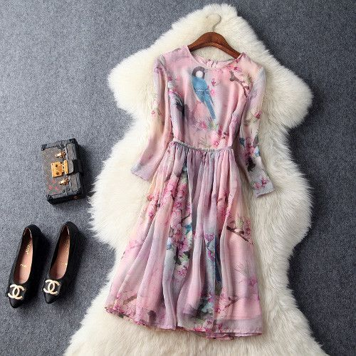 Woman pink mini ball gown flower blue bird print fashion vintage ...