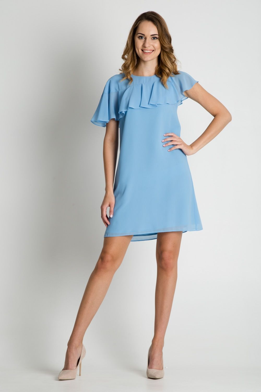 Jasnoniebieska Sukienka Z Falbana Dresses Fashion Shoulder Dress
