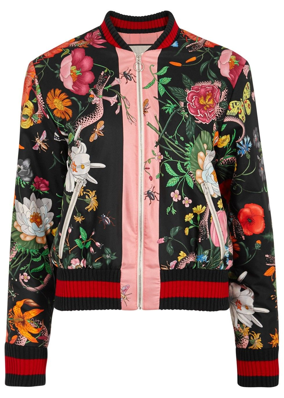 236f083ca Gucci black silk bomber jacket Floral and snake print, zipped front  pockets, signature striped ribbed trims, fully lined Zip fastening through  front ...