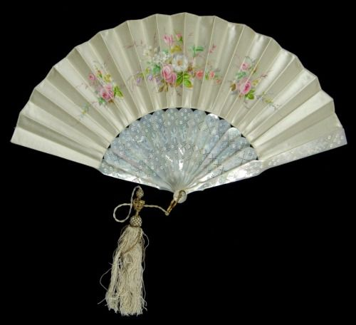 American mother-of-pearl and silk fan, 1880–89. Courtesy of the Met.