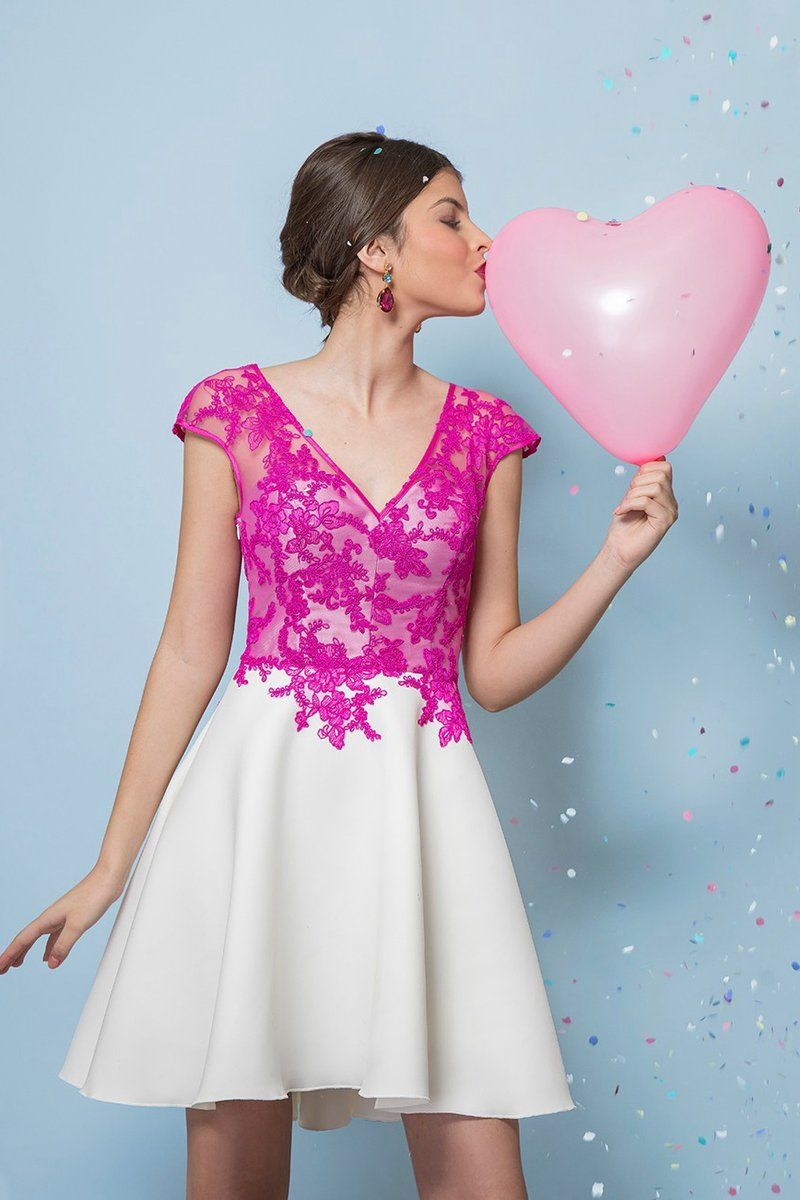 Aline vneck lace short prom dresses with cap sleeves angrila