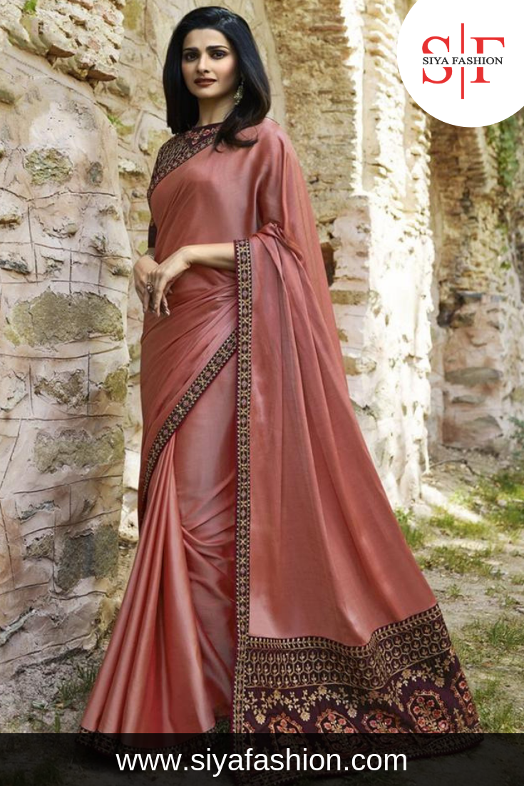 e6b7c015cb02bb Siya Fashion #Designer Nude Pink Color Party Wear Saree With #UnStitched  #Blouse.