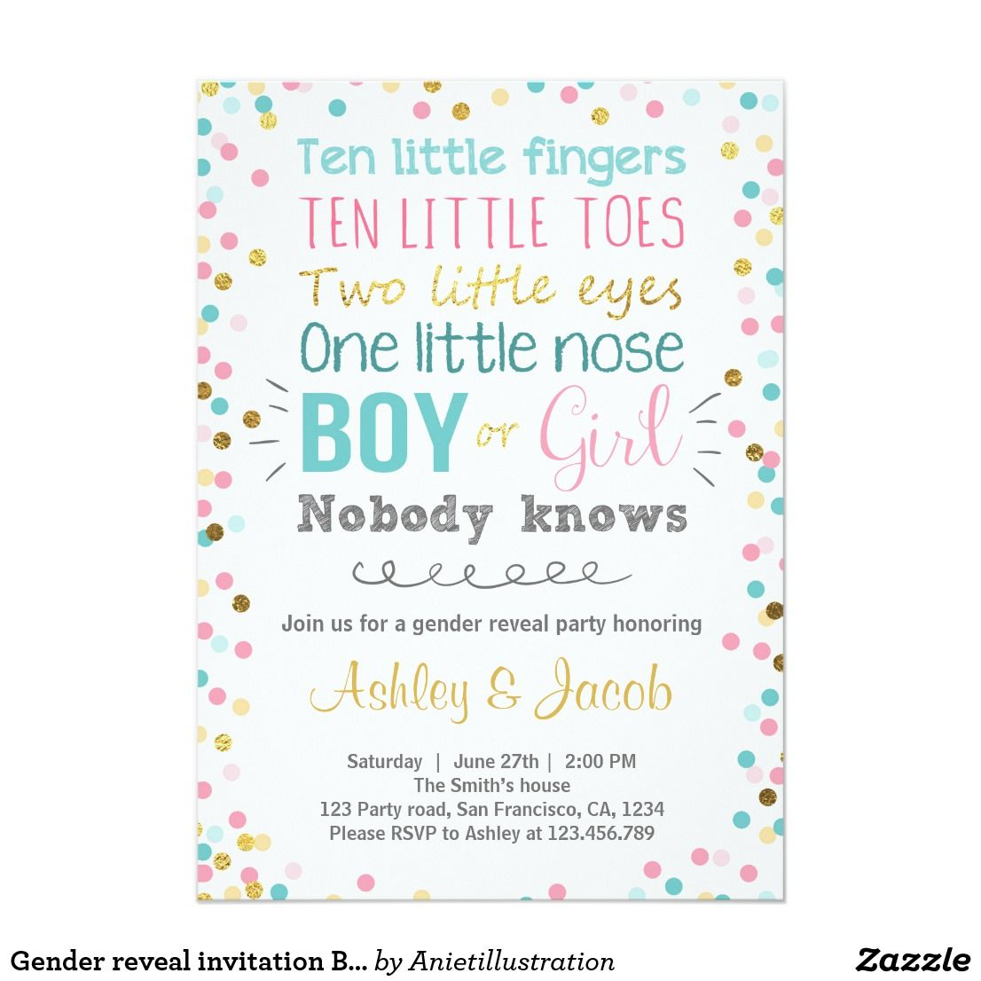 Gender reveal invitation Baby shower Boy or Girl Pinterest