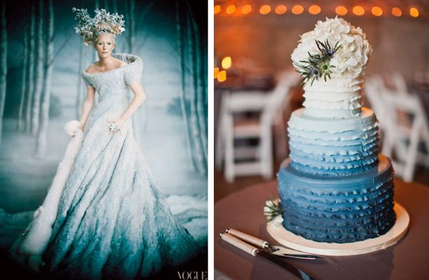 White Slate Blue Ombre Wedding Cake and Dress | Winter Wedding ...