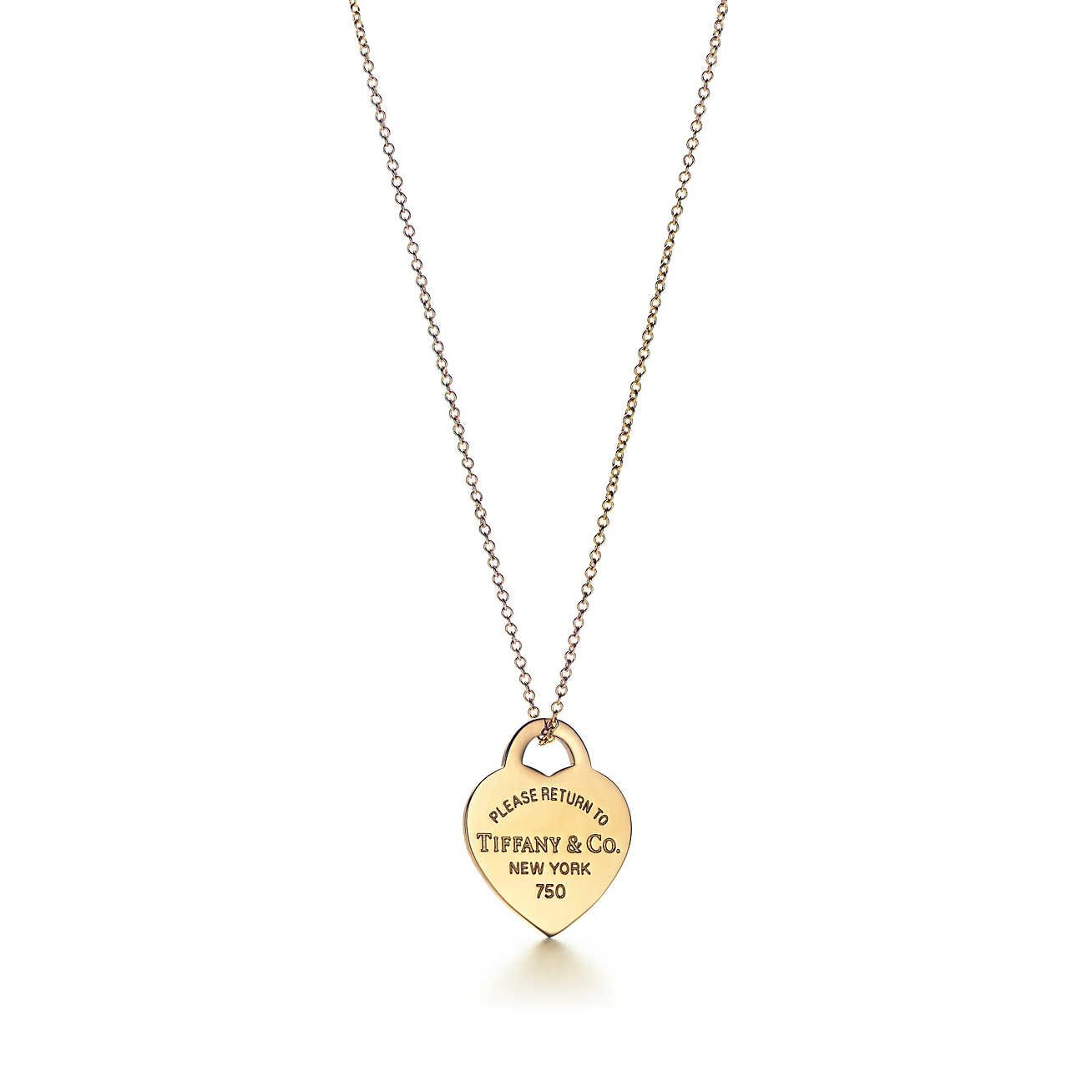 Kette gelbgold  Tiffany | Return to Tiffany™: Kette mit Herzmarken-Anhänger, 18kt ...