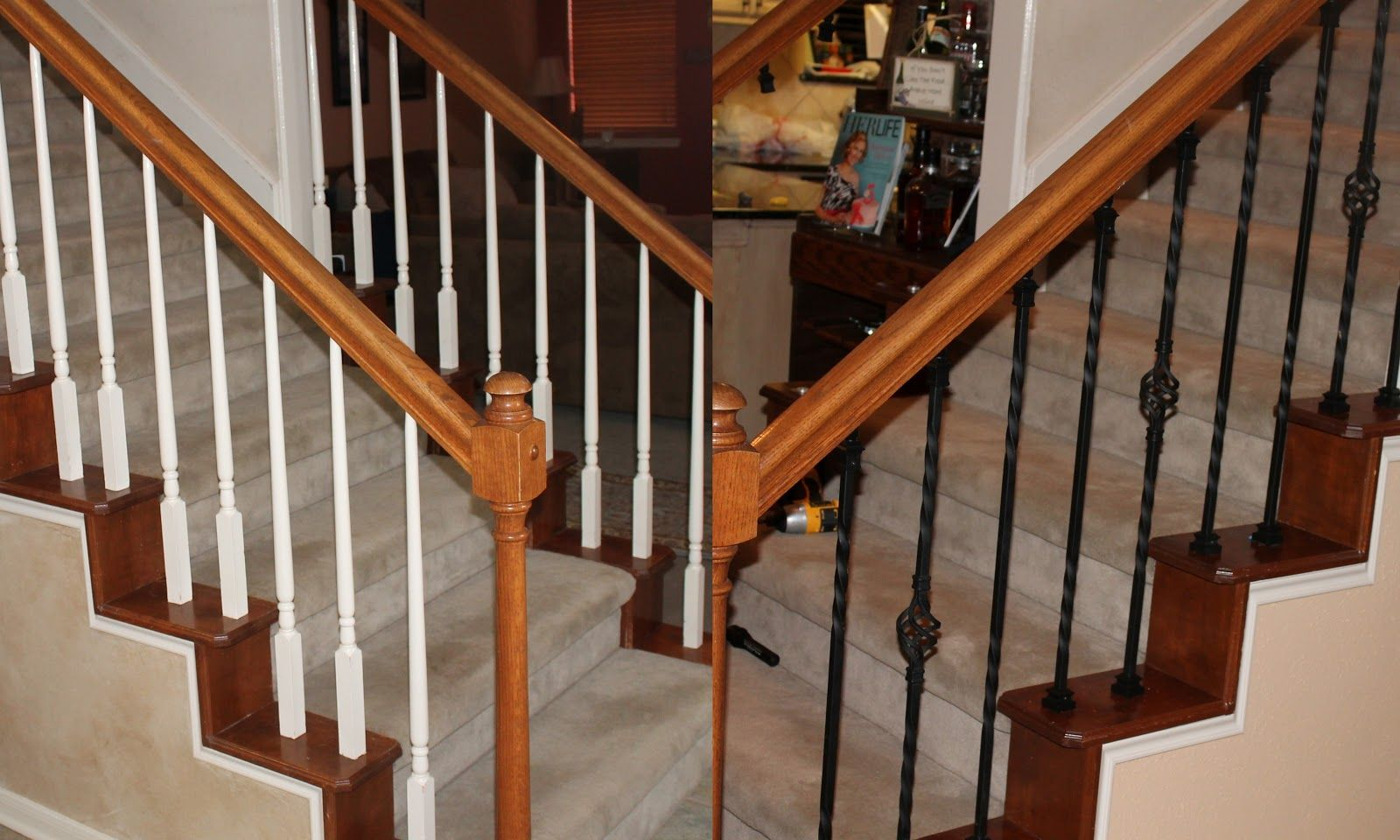 Best Stair Case Before And After Wrought Iron Only 200 Total At Lowe S Iron Stair Balusters 640 x 480