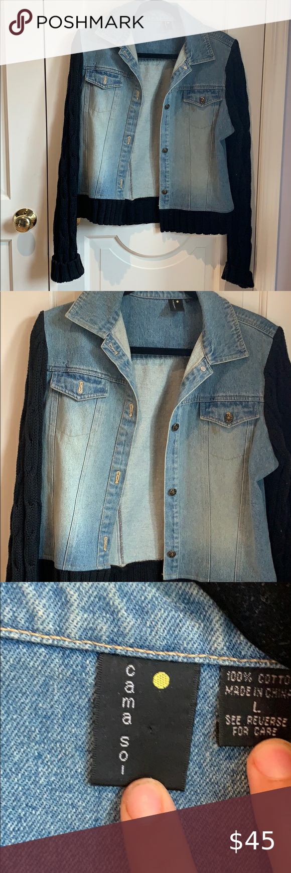 Cana Sol Jean Jacket Sweater Jacket Size Large  Jean jacket