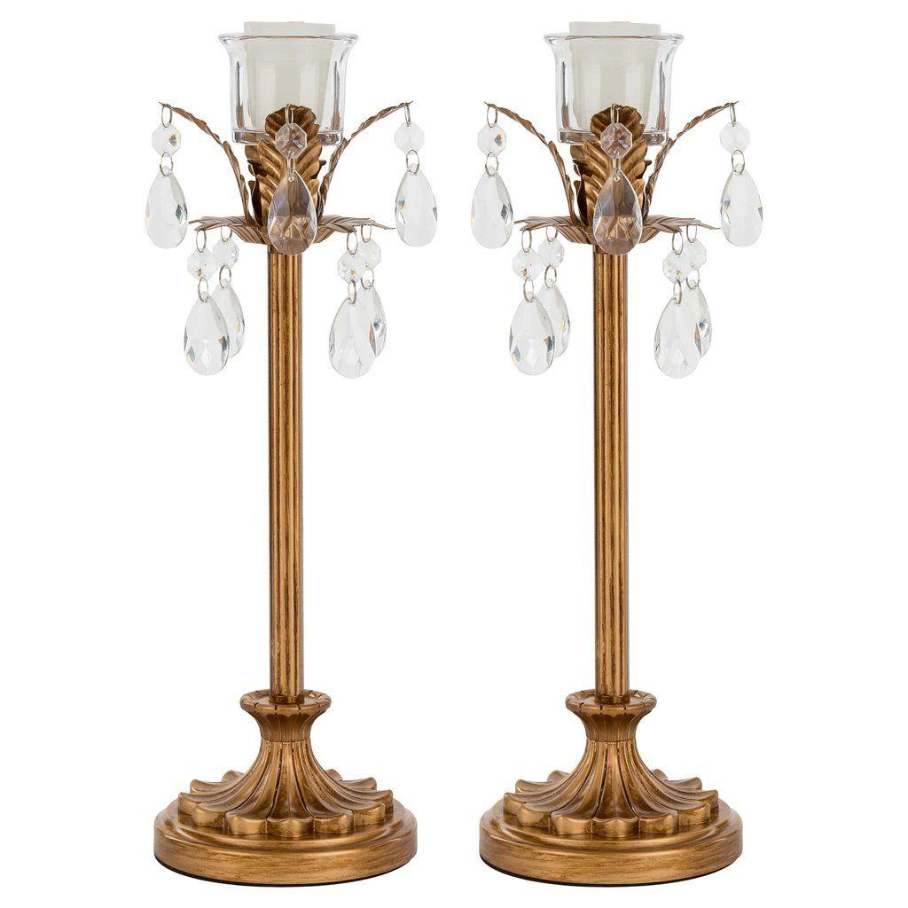 Amalfi D/écor Madeleine Vintage Gold Metal Candelabra Centerpiece 3 Votive Candle Taper Candlestick Holder Accent Stand