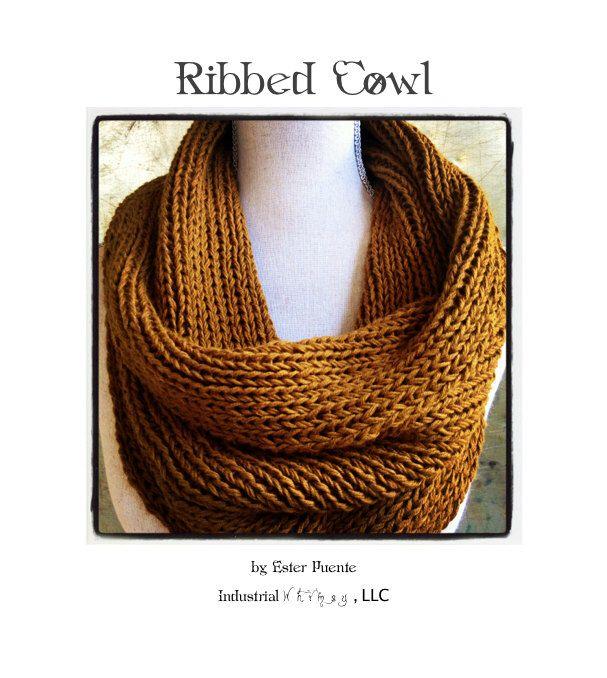 Ribbed Cowl Knitting Pattern Infinity Circle Scarf Chunky Knit