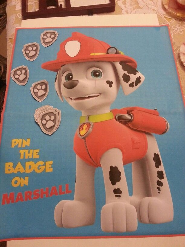 Pin badge on Marshall | Paw patrol party, Paw patrol ...