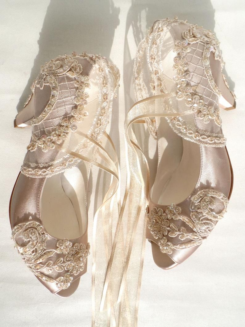Champagne satin bridal shoes with kitten heels in 2020