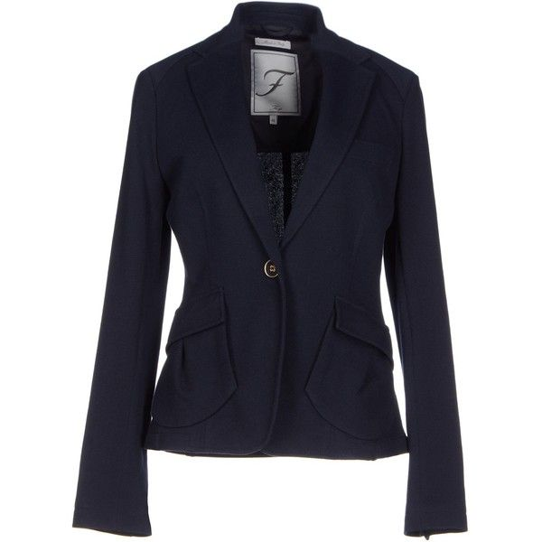 Fay Blazer ($295) ❤ liked on Polyvore featuring outerwear, jackets, blazers, dark blue, blue jackets, fay jacket, blue cotton blazer, long sleeve blazer and pocket jacket