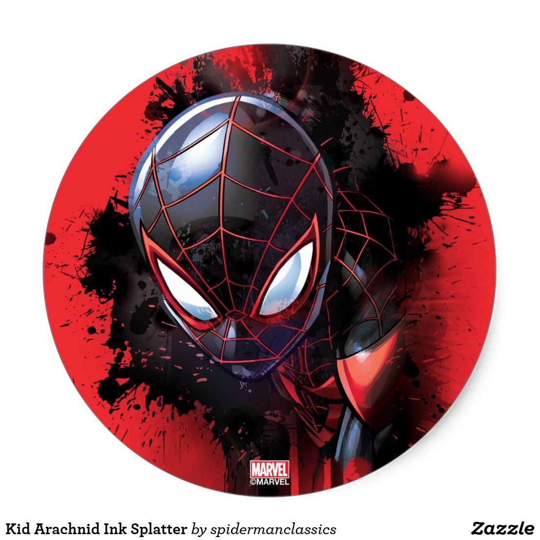 Kid Arachnid Ink Splatter Classic Round Sticker Zazzle