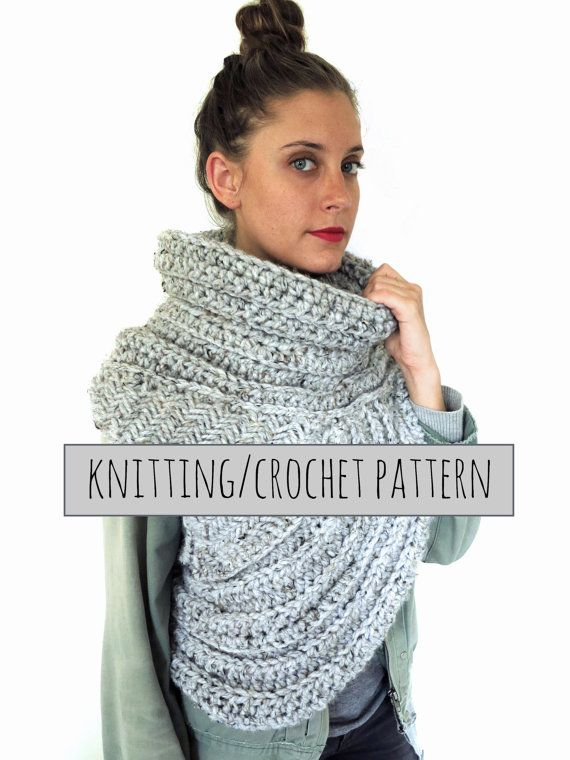 PATTERN for Chunky Knit Crochet Asymmetrical Cowl Vest Shawl Scarf ...