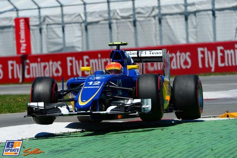 Felipe Nasr takes full advantage of the curbing in Canada