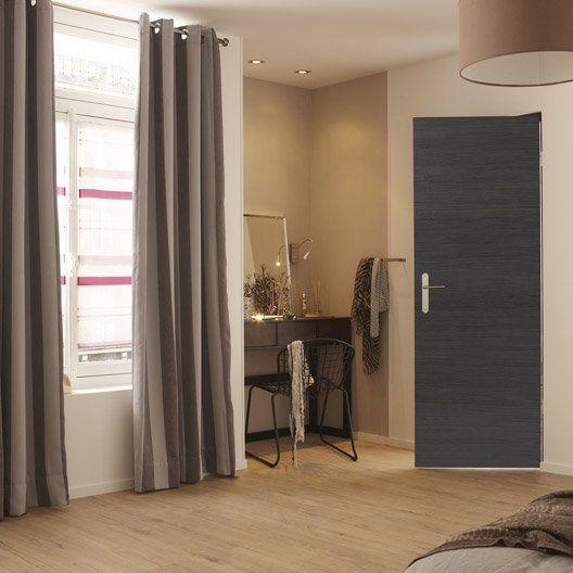 Porte sans bâti mdf revêtu décor chêne grisé Londres, 204x73cm