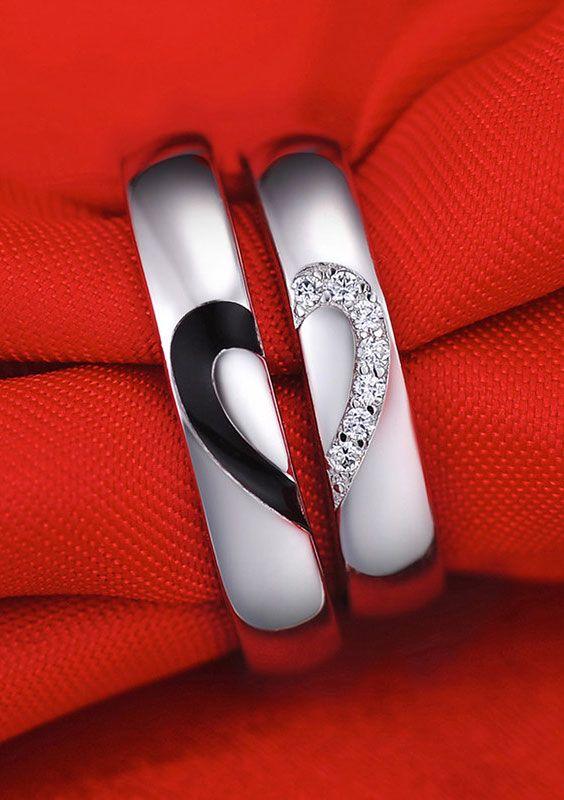 Black White Couple Heart Wedding Rings Heart wedding rings