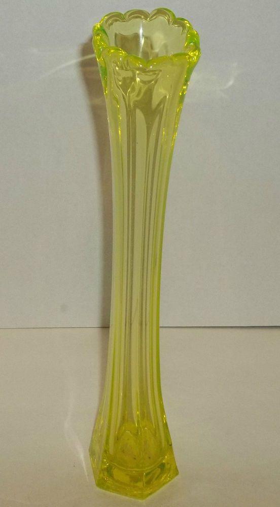 Vintage Yellow Vaseline Glass Swung Bud Vase 12 1 2 Tall Glass Vaseline Glass Bud Vases