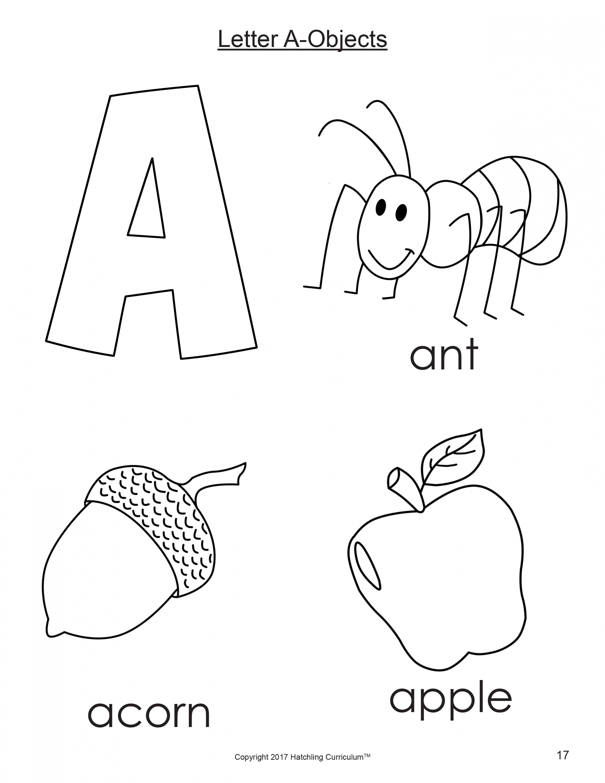 9 Letter A For Coloring In