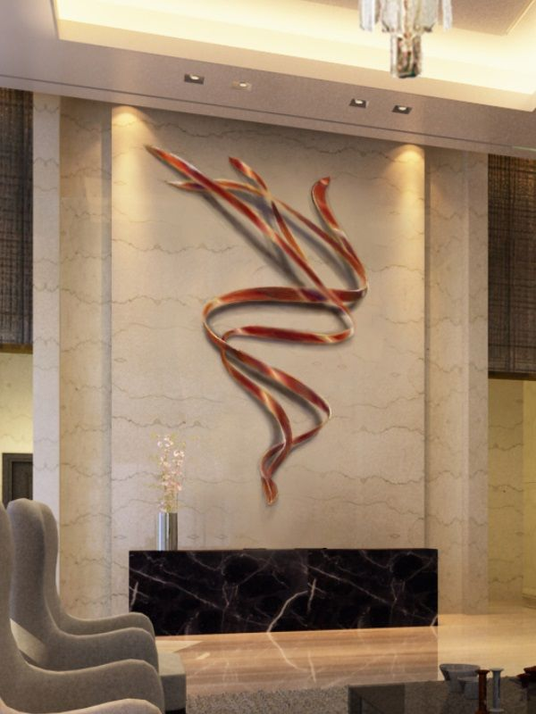 White Marble With Bronze Wall Art Sculpture In The Reception Area Of The  Lobby. Artist