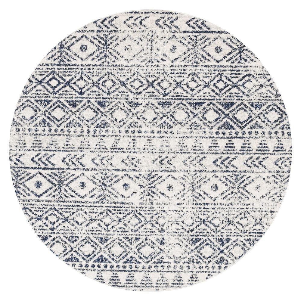 Cobalt Blue Tribal Round Rug