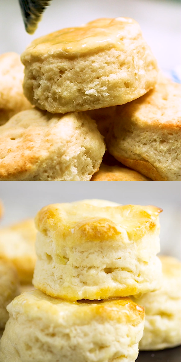 These simple homemade Southern Buttermilk Biscuits are flaky and tender. They're easy to make at home from scratch. Slather them in butter and see just how deliciously light and tender these biscuits are.
