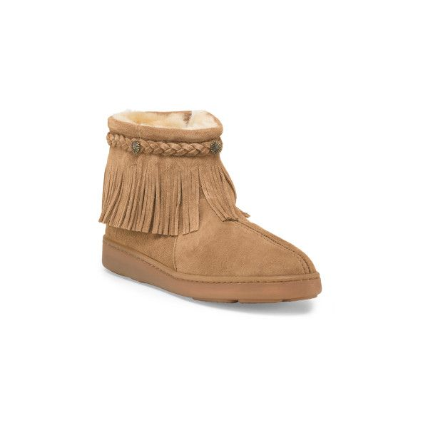 Sheepskin Side Zip Bootie ($60) ❤ liked on Polyvore featuring shoes, boots, ankle booties, short boots, shearling lined boots, sheepskin boots, round toe boots and faux boots