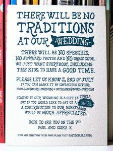 The Non Traditional Wedding Invitation Creative Wedding Invitations Traditional Wedding Invitations Nontraditional Wedding