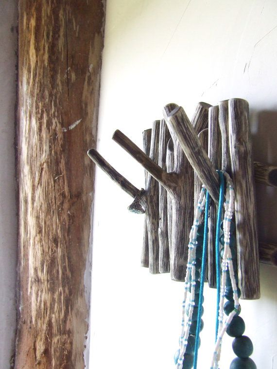 Shabby chic branch wall hanging wooden hook black by WoodenSage,