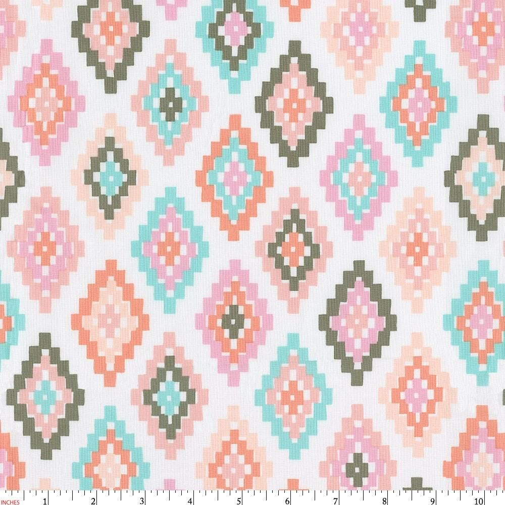 Pastel Tribal Fabric by the Yard | Pink Fabric | Carousel Designs
