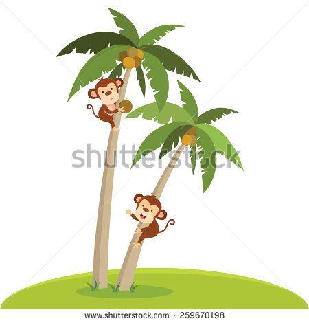 Removable Stickers Coconut Tree Wall Cartoon Festival Jungle Monkey Pattern