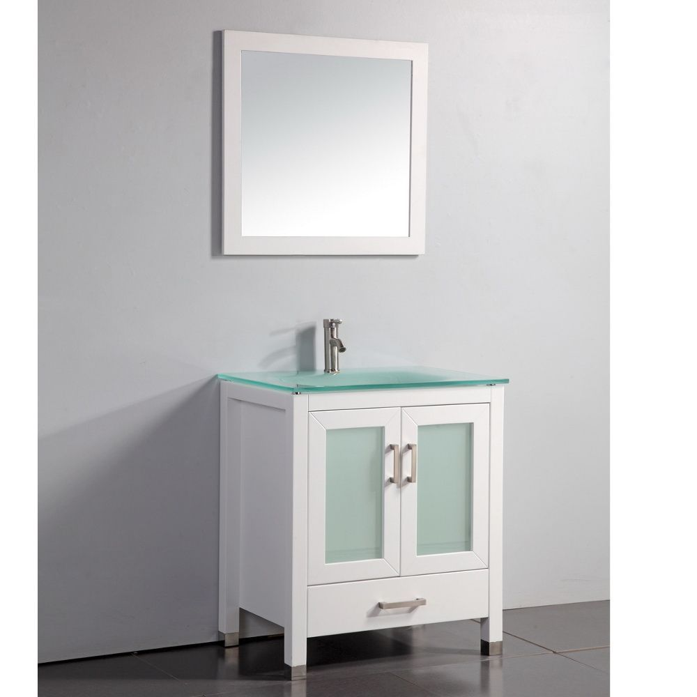 Tempered Glass Top White 30-inch Bathroom Vanity with Matching ...