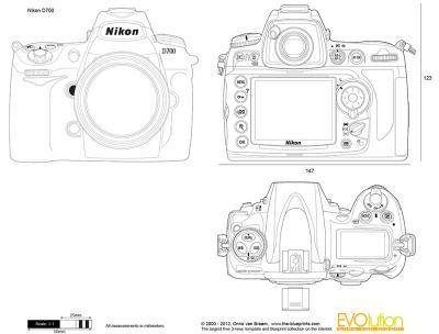 Camera blueprints The-Blueprints - Vector Drawing - Nikon D700 - new blueprint background image