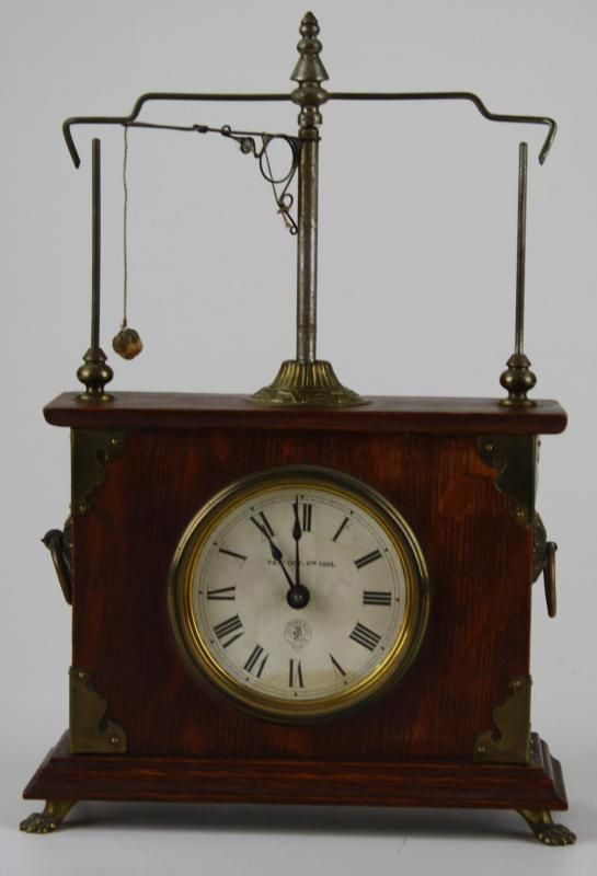 "Jerome ""flying pendulum"" clock. A unique escapement patented in 1883 that allows ball on string to wrap and unwrap on each side as spring moves it around center post. Control speed of clock by length of string. The clock was reissued in the 1980's and mass produced very cheaply. A great novelty. www.pinterest.com/gatsbywise/timekeeper-antique-clocks"