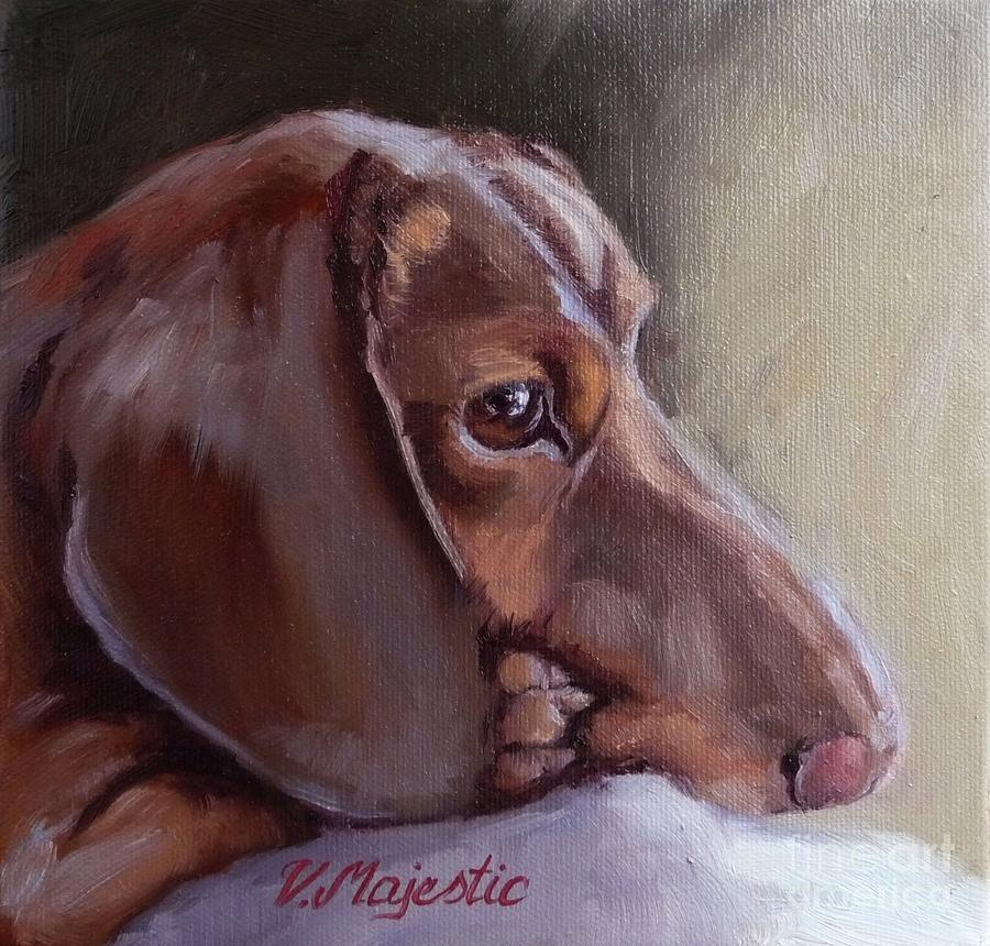 Miniature Doxin Daydreaming Dachshund Pet Portrait Pet