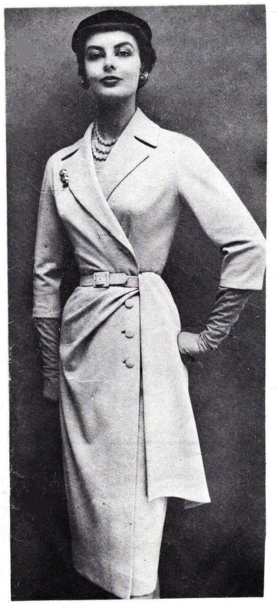 1950s 50s Vintage Sewing Pattern wiggle dress suit front drape sash ...